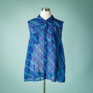 Torrid 3X Blue Plaid Sheer Sleeveless Top